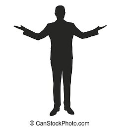 Business man comparing. Outspread