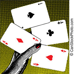 Poker pop retro - illustration cartoon vintage