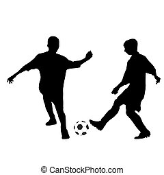 Two kids playing soccer. Vector silhouettes
