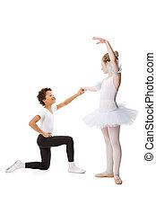 bailando, aislado,  interracial, Plano de fondo, juntos, blanco, niños