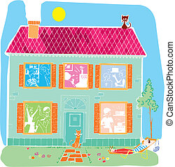 Home house vector cartoon illustration