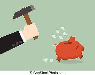 brake piggybank - businessman try to brake piggybank