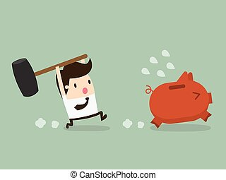 brake piggybank - businessman try to brake piggybank