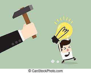 breaking - Hand breaking light bulb