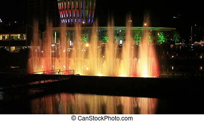 Night view of the dancing fountainsColorful spectacle in the...
