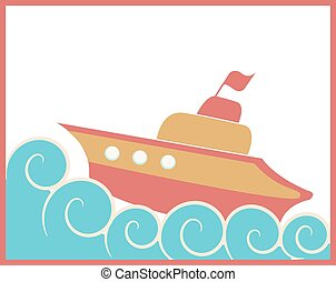Toy ship - Illustration of colorful orange and red toy ship...