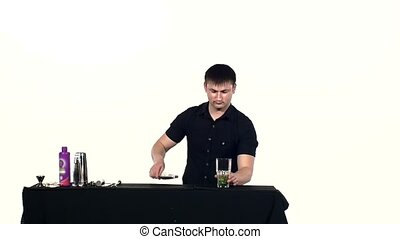 bartender preparing coctail, slow motion - bartender...