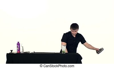 bartender preparing coctail on a white background, slow...