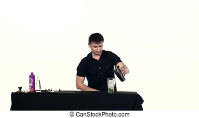 bartender in black clothes preparing coctail, slow motion -...