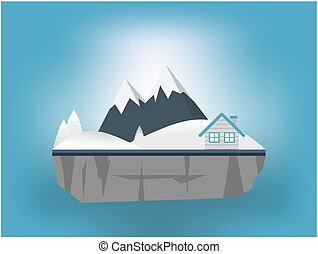 House and mountain in winter