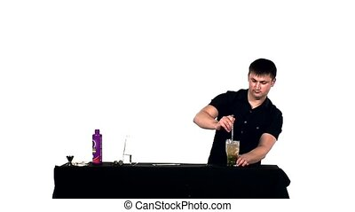 bartender preparing alcoholic coctail with bar, slow motion...