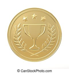 Golden Medal - Gold medal with laurels , stars and cup Round...