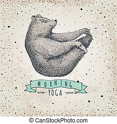 llustration of bear isolated onvintage background. mormimg...