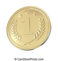 Golden Medal - Gold medal with laurels and stars Round blank...