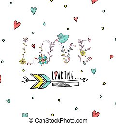 Floral elements of vintage. Prase love is loading in vector....