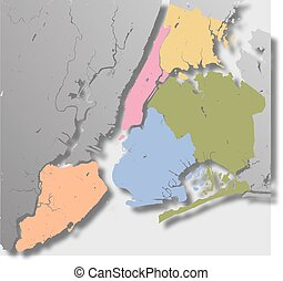 Boroughs of New York City - outline map - High resolution...