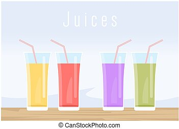 Set of juice - Glass with juice vector set