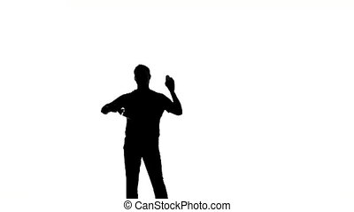 bartender with a shaker silhouette slow motion - Young...