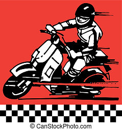 Scooter - Retro pop 60s moto vector illustration