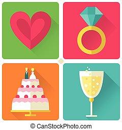 Set of 4 flat style wedding icons