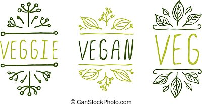 Healthy food product labels. - Hand-sketched typographic...