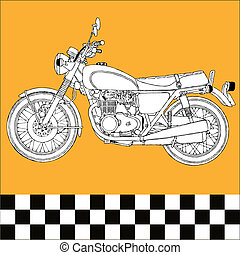 Motocycle - moto motocycle retro vintage classic vector...