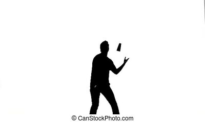 Vector silhouette waiter on a white background. silhouette...