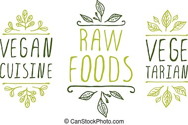 Healthy food product labels - Hand-sketched typographic...