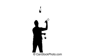 silhouette waiter on a white background. silhouette - Vector...
