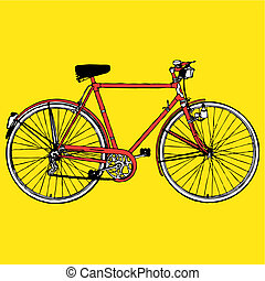 Old classic bike Illustration Vector - retro vintage classic...