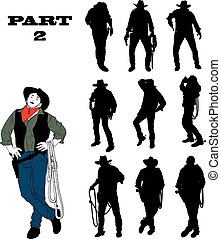 Silhouettes of cowboy in traditional costume in various...