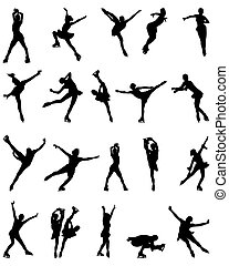 skaters - Black silhouettes of figure skaters, vector