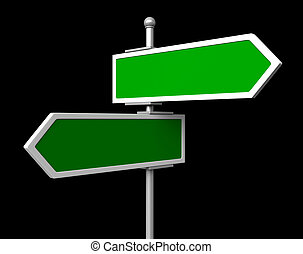 Blank traffic signs - 3d render of blank green signs isolted...