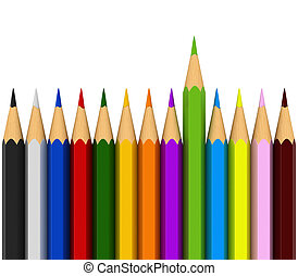 Colour pencils - 3d render of colour pencils isolated over...