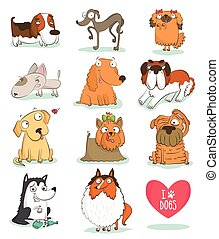 Set of cute dog characters. Breeds. Isolated on white