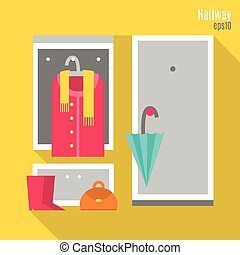 Hallway in flat style - Illustration of hallway in flat...