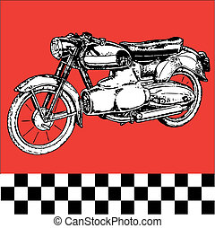 fantastic moto motocycle - retro vintage classic vector...