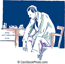 Young man with an exaggerated sad cartoon illustration
