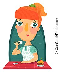 Redhair girl with cup and cake - Illustration of redhair...