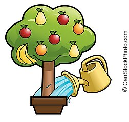 Watering the fruit tree 2 - Illustration of the can watering...