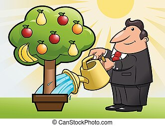 Watering the fruit tree 3 - Illustration of the man watering...