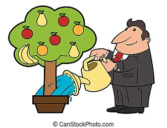 Watering the fruit tree 4 - Illustration of the man watering...