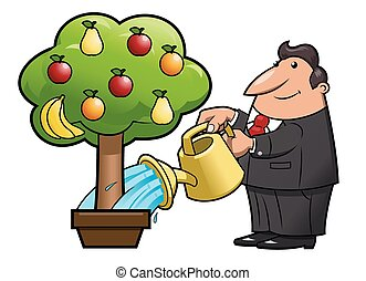 Watering the fruit tree - Illustration of the man watering...