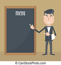 Funny cartoon waiter with menu Flat vector illustration EPS...