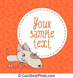 Card background with bull terrier - Cute card background...