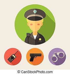 Policeman - set of flat style icons - Modern flat design...