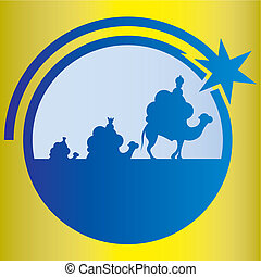 Wisemen cartoon vector - Wisemen Illustration . Star of...