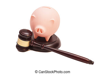 Wooden Judge Gavel And Piggy Bank on white