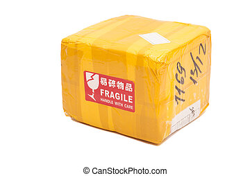 Postal package box or shipping box with a quot;Fragile -...