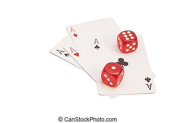 Red Casino Dice And Four Aces Playing Cards